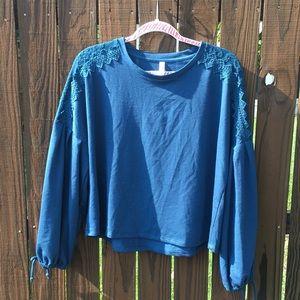 Adorable blue crop top , shoulder lace detail.